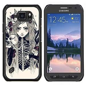 EJOOY---Cubierta de la caja de protección para la piel dura ** Samsung Galaxy S6Active Active G890A ** --La novia del cráneo Esqueleto Muerte Chica floral