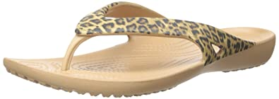 Crocs Women's Kadee II Leopard Print Flip Flop, Gold, ...