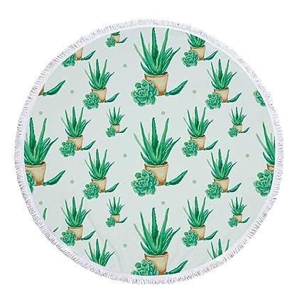 FELICIGG Toalla de Playa Redonda Planta Verde Microfibra Más Borla Estera Toalla de baño Círculo Picnic