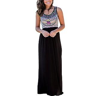 Dearlovers Women Sleeveless Ethnic Printed Summer Casual Maxi Long Dress Medium Size Black