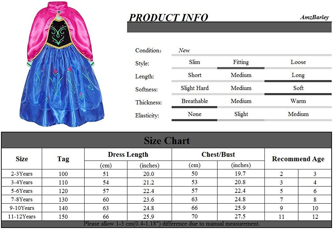 AmzBarley Princess Dress Up Girls Cosplay Costume Halloween Role Play Outfit