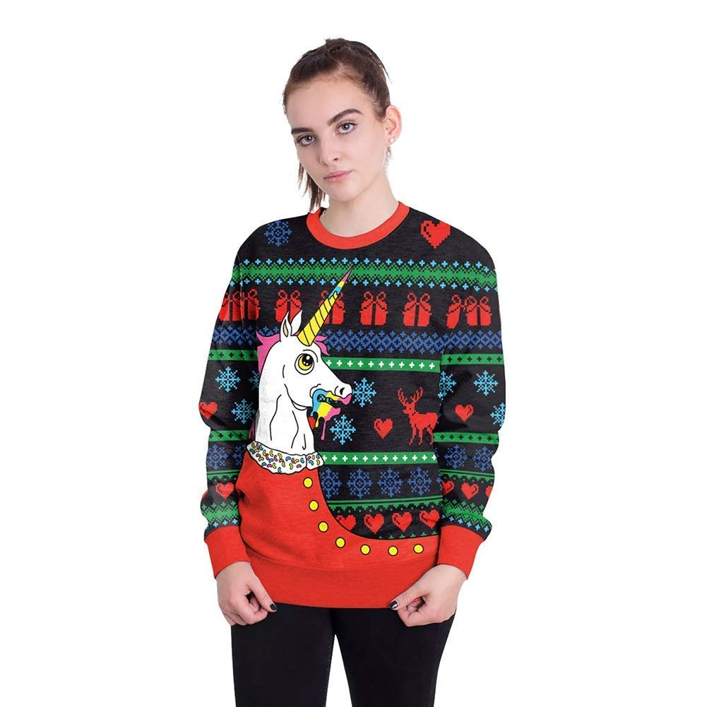 FuweiEncore Damenschuhe New Christmas Festival 3D Digital Print Paar Sweatshirts, Männer übergroßen Rundhals Pullover Tops Weihnachten Karneval Festival (Farbe   24, Größe   S)