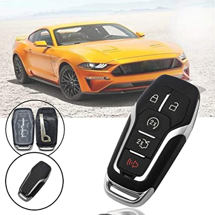 KeylessOption Keyless Entry Remote Smart Key Fob Shell Case Button Pad Cover For Ford Fusion Mustang Explorer Pack of 2