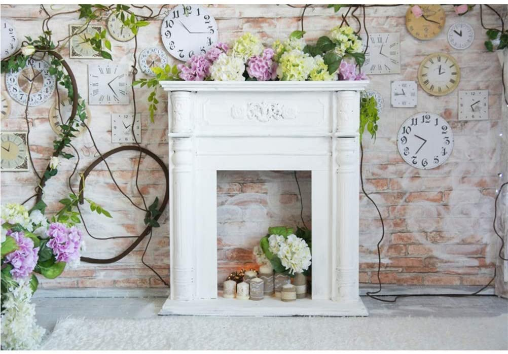 8x6.5ft Wedding Photo Backdrops Polyester White Fireplace Various Clocks Rustic Brick Wall Background Beautiful Flowers Green Plants Carpet Artistic Portraits Shoot Newlywed Photo Studio Props