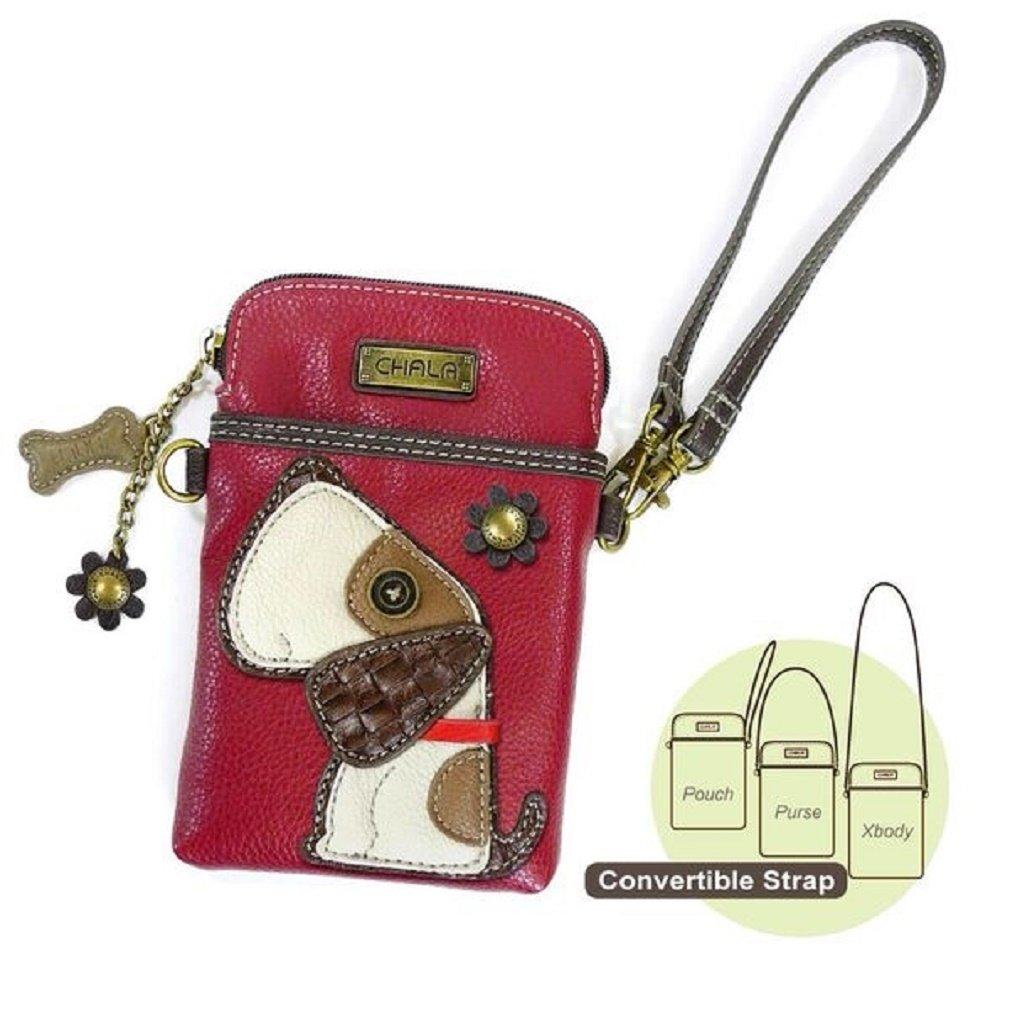 Chala Crossbody Cell Phone Purse - Women PU Leather Multicolor Handbag with Adjustable Strap - Dog - Burgundy
