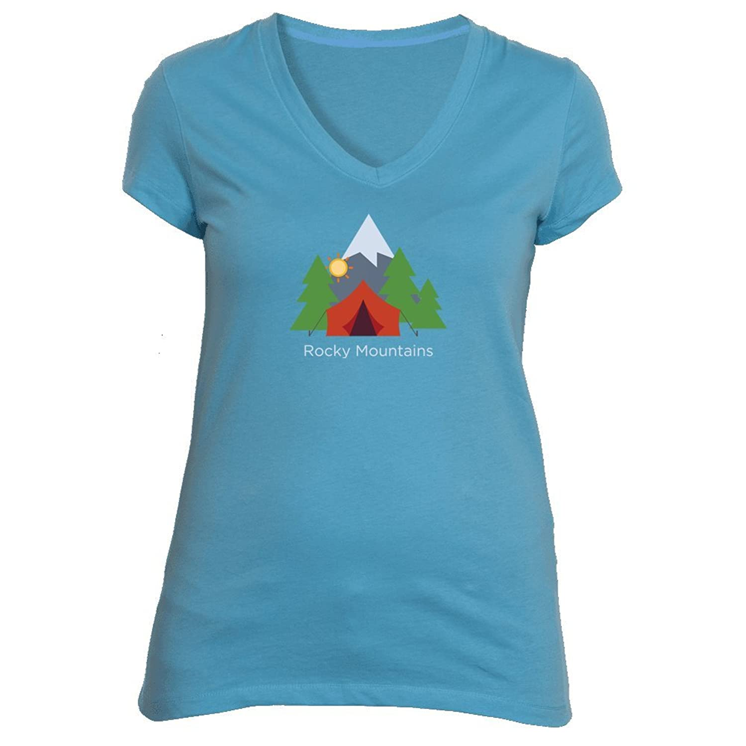 Rocky Mountains Camping - Women's V-Neck T-Shirt