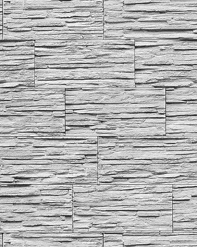 Vinyl wallpaper modern textured stone natural 1003-32 brick decor washable grey nature white | 5.33 sqm (57 sq