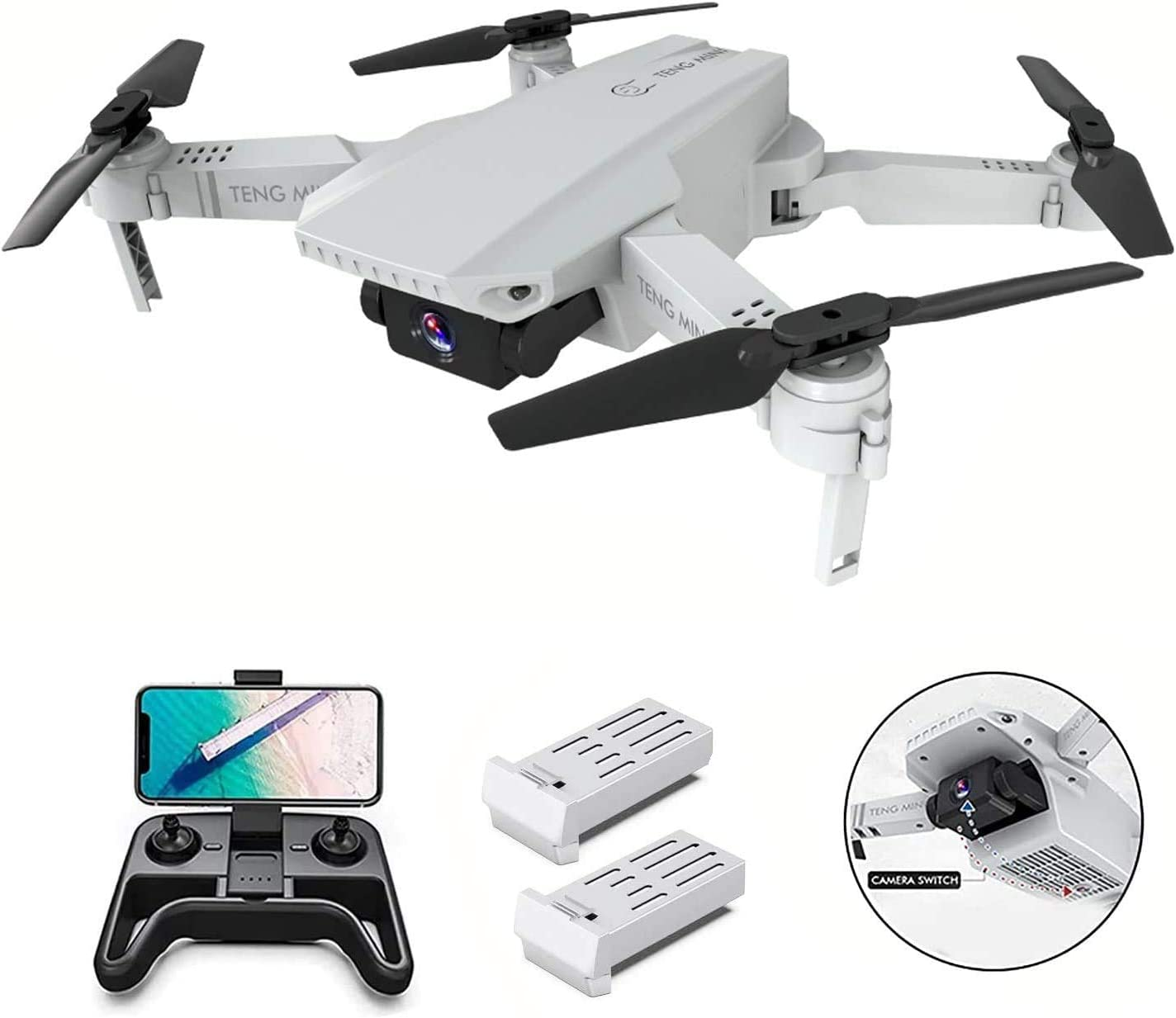 B-Qtech Drone with Dual Camera 4K for Adults & Kids & Beginners, 2.4Ghz Foldable RC Quadcopter with Long Flight Time, Smart Follow, WiFi FPV Live Video, Gesture Operation, Headless Mode(2 Batteries)