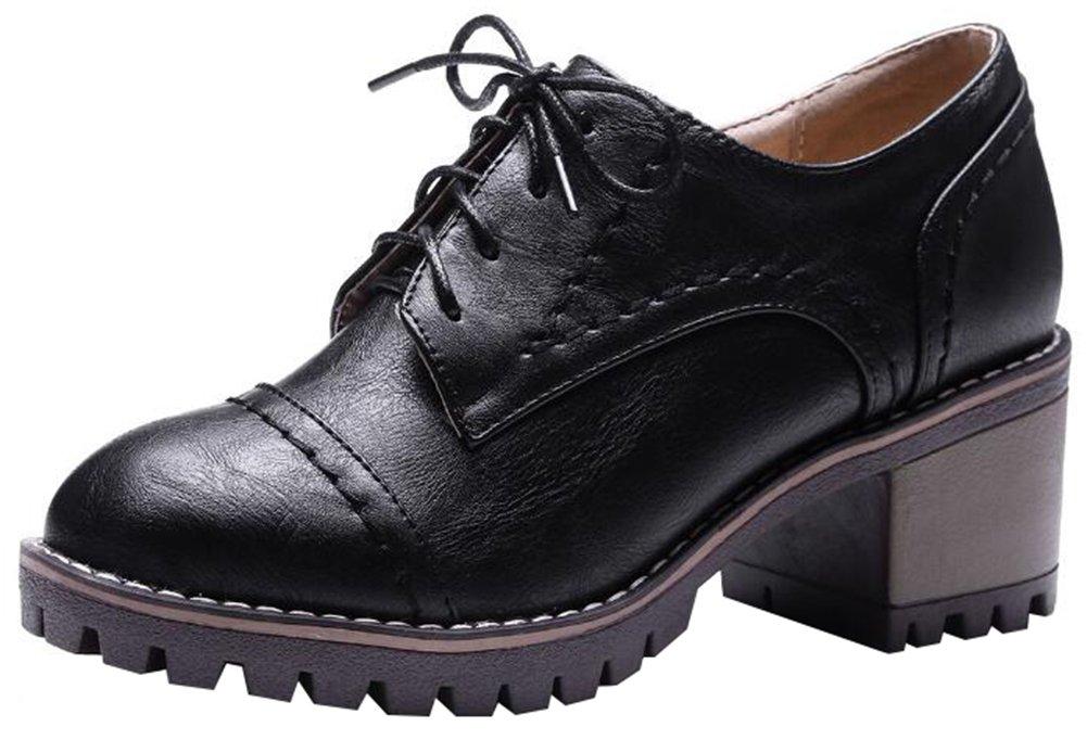 Mofri Women's Retro Round Toe Low Top Block Medium Heel Platform Lace up Oxfords Shoes (Black, 8 B(M) US)