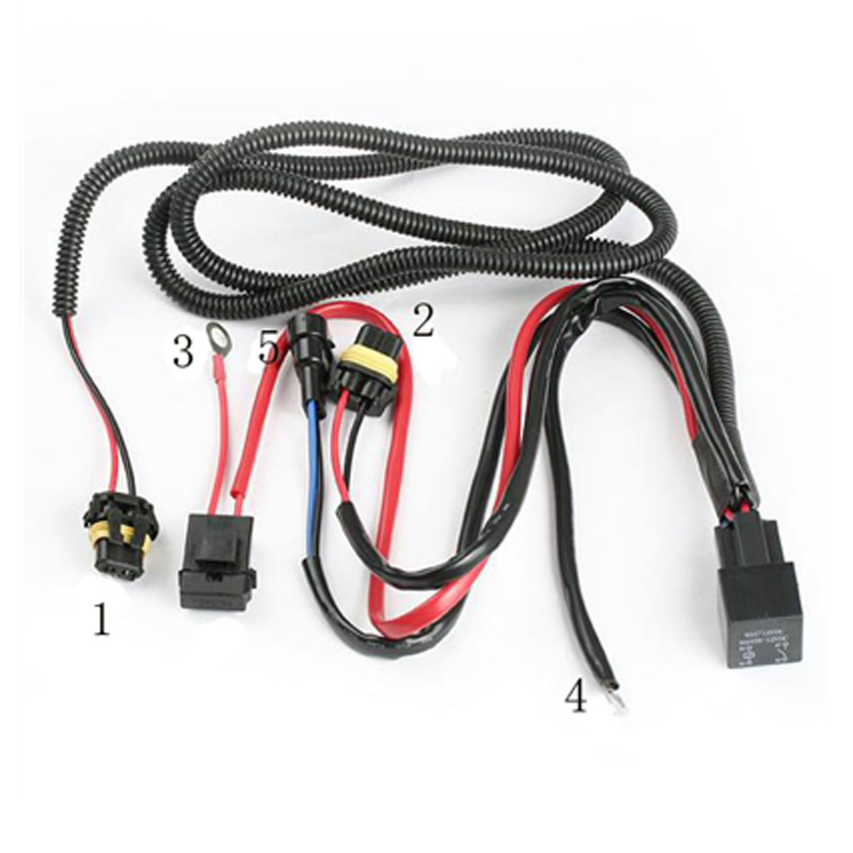 61lwCIuIleL._SL1200_ amazon com innovited universal relay wiring harness for all hid Electrical Harness Connectors at reclaimingppi.co