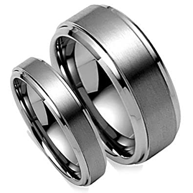 Matching Set His 8MM & Her's 6MM Brushed Center Step Edge Tungsten Carbide  Wedding Band Ring Set