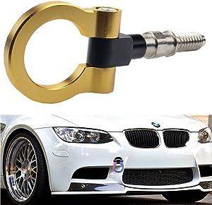Dewhel Aluminum Track Racing Front Rear Bumper Guard Car Accessories Auto Trailer Ring Hook Eye Towing Tow Hook Kits Gold For BMW 1 3 5 Series X5 X6 E36 E39 E46 E82 E90 E91 E92 E93 E70 E71 MINI Cooper