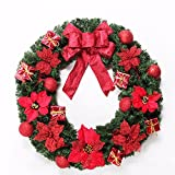 Christmas Garland for Stairs fireplaces Christmas Garland Decoration Xmas Festive Wreath Garland with Christmas wreath Red,50cm