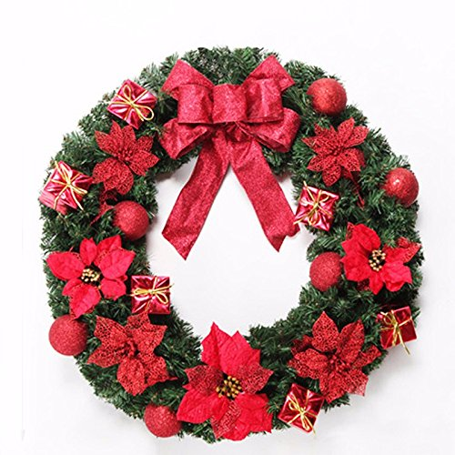 Christmas Garland for Stairs fireplaces Christmas Garland Decoration Xmas Festive Wreath Garland with Christmas wreath Red,30cm by Caribou Furniture And Decor