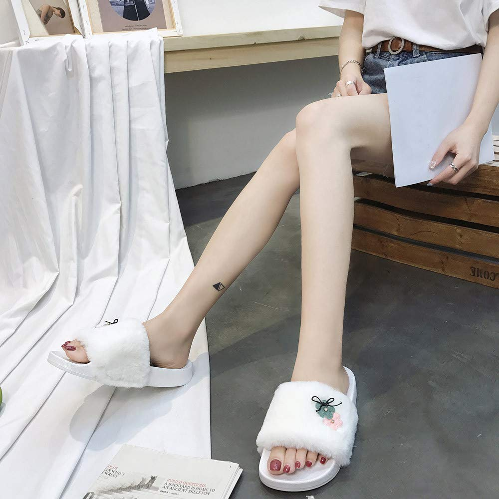 Slippers For Women, Clearance Sale !! Farjing Slip On Sliders Fluffy Faux Fur Flat Slippers Flip Flop Sandals(US:7,White1) by Farjing (Image #4)