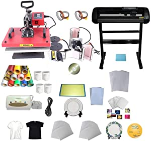 INTBUYING 6in1 Heat Press Transfer Machine Cutter Plotter Printer Paper CISS Vinyl Plate Mug Tape Business Bundle