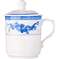 Cheng's Porcelain Mug with Cover, 300 ml, Blue Dragon and Phoenix