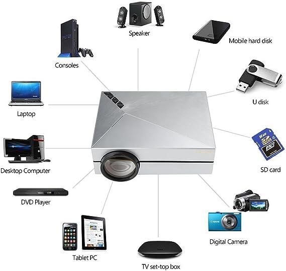Crenova® XPE450 Mini Proyector Portable 1000 lúmenes 800*480 Resolución con Cable libre HDMI para Cinema Teatro en casa Entretenimientos Conexión con TV Portátil de escritorio Consola de juego Media Player Tarjeta SD