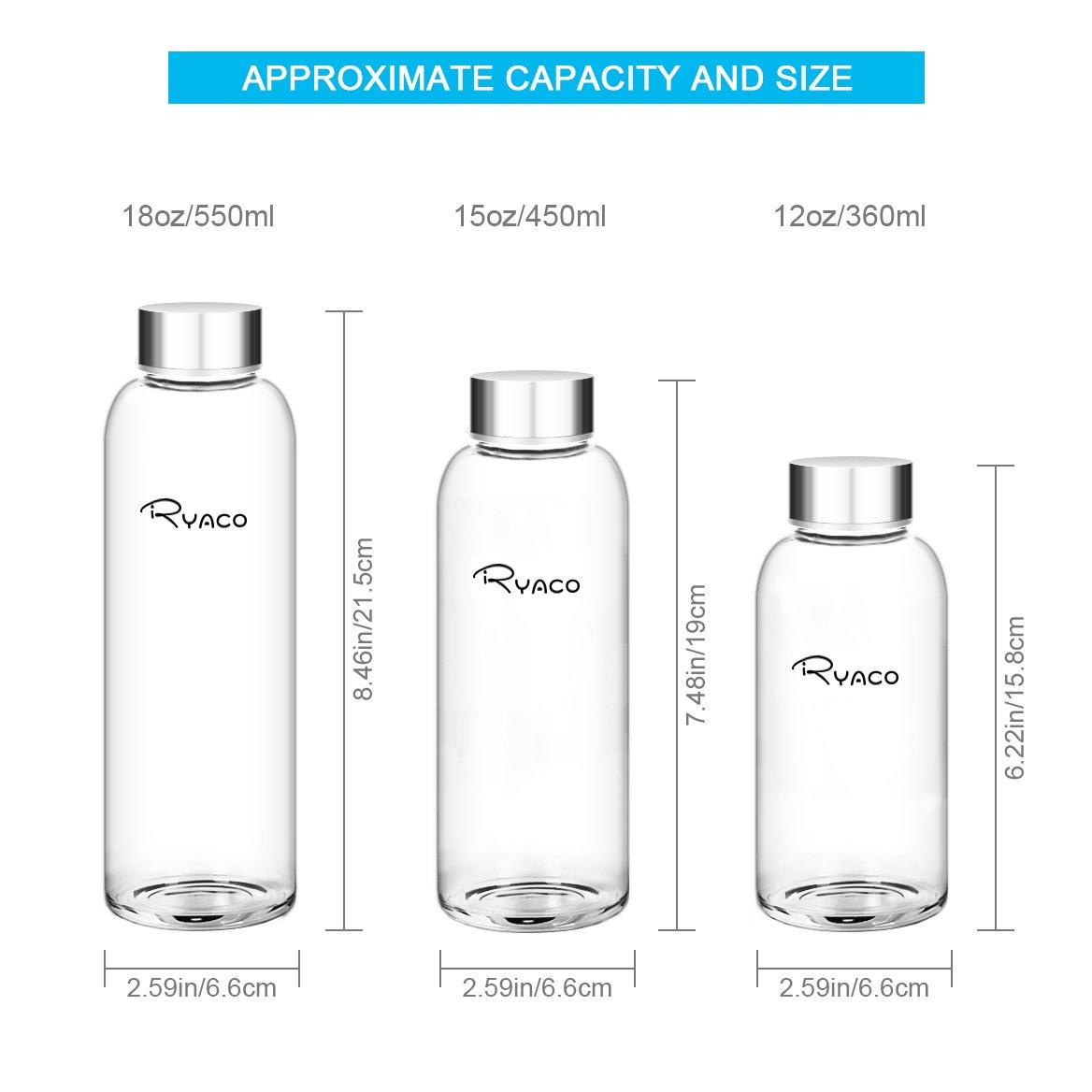 Ryaco Botella de Agua Cristal 360ml, Botella de Agua Reutilizable 12 oz, Sin BPA Antideslizante Protección Neopreno Llevar Manga con Acero Inoxidable Tapas ...
