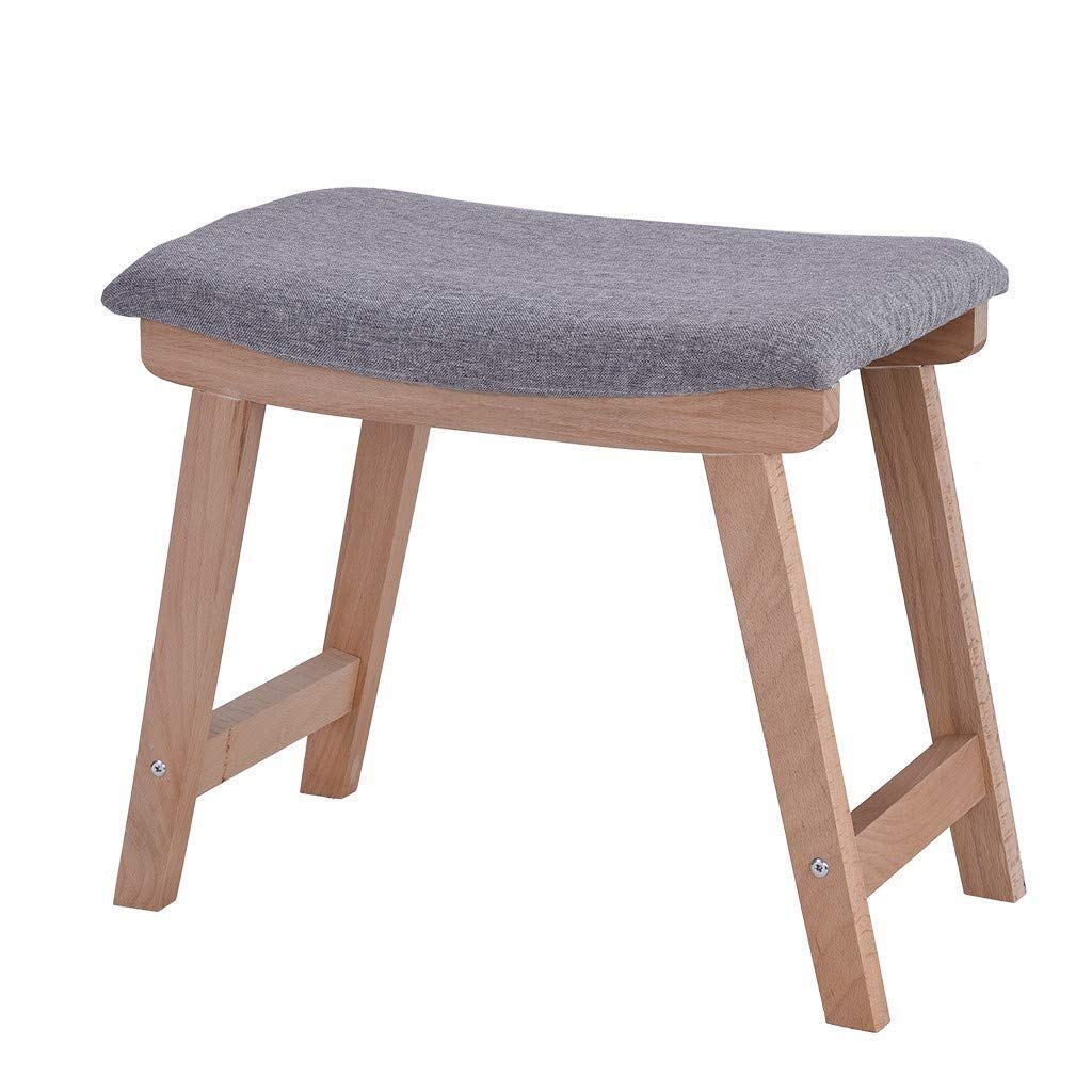 Ama-store Vanity Stool, Modern Makeup Dressing Stool with Solid Wood Legs, Makeup Bench Dressing Stool, Padded Cushioned Chair, Piano Seat Gray, 18.9 x 11.8 x 15.7 inches by Ama-store