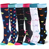 Compression Socks for Men & Women - 20-30mmHg 2 to 8 Pairs Compression Stockings for Runners, Edema