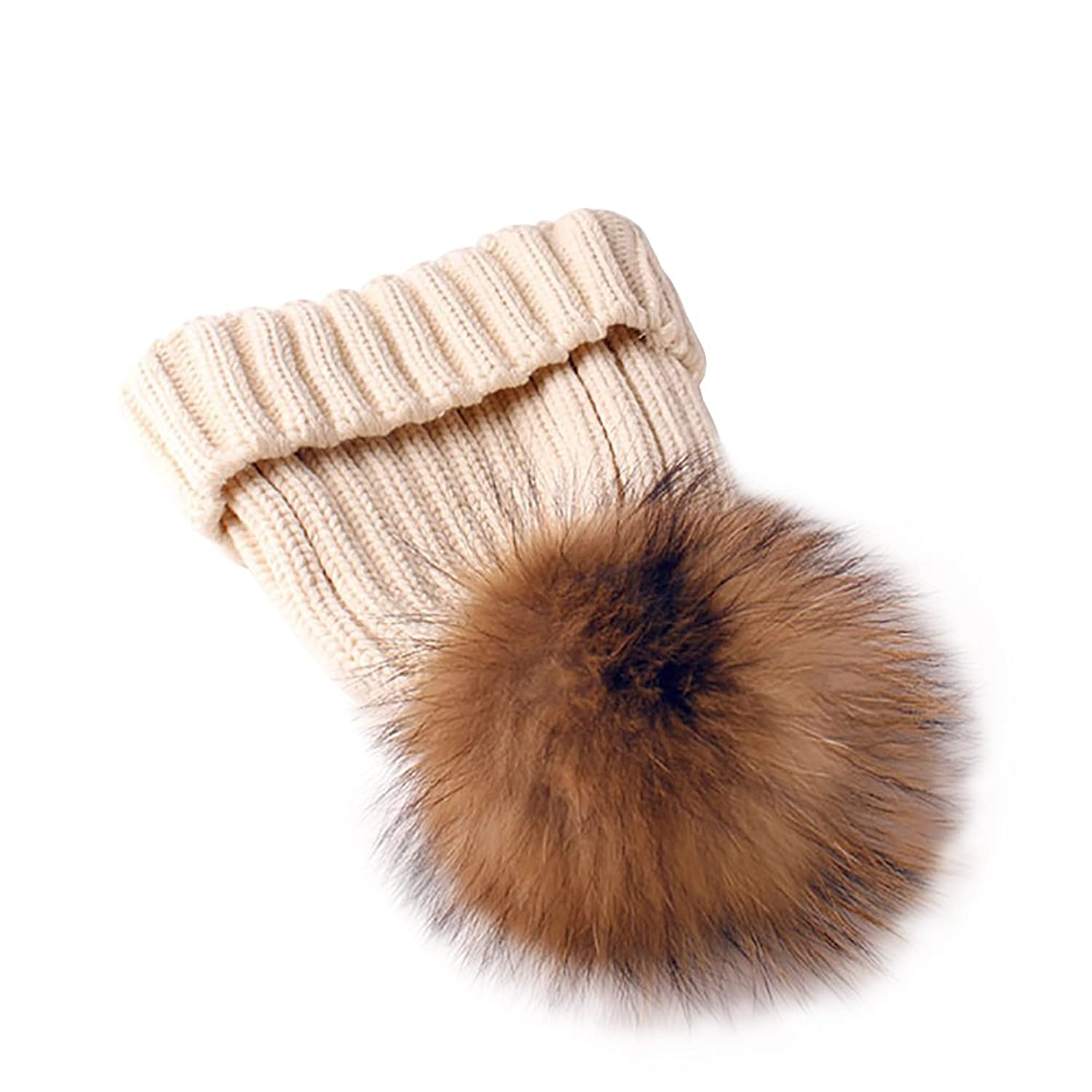 Pom Pom Beanie Hat, Ocaler Boys Girls Winter Warm Knit Beanie Raccoon Fur Pom Bobble Hat Crochet Beanie Ski Cap for Children