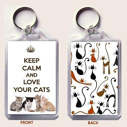 Keep Calm And Love tus gatos llavero impreso en una imagen ...