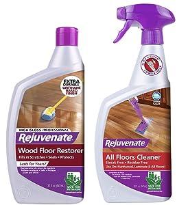 Rejuvenate Hardwood Professional Wood Floor Restorer and Polish, 32 oz, High Gloss & FBA_RJFC32RTU 32OZ FLR Cleaner, 32 oz, Clear, 32 Fl Oz