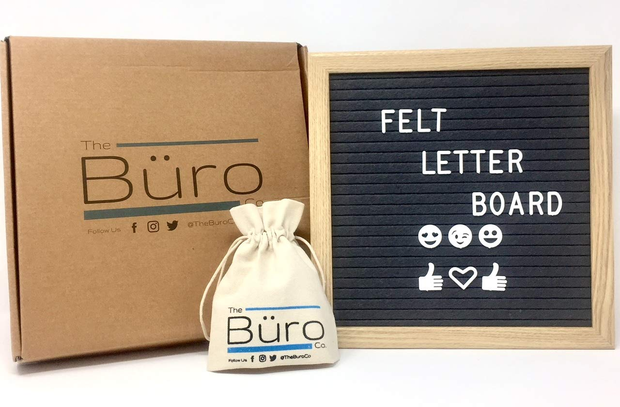 Gray Felt Letter Board - 340 White Emojis and Letters - 10x10 Changeable Letter Boards with Oak Frame The Buro Co.