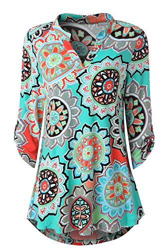 Zattcas Womens Floral Printed Tunic Shirts 3/4 Roll Sleeve Notch Neck Tunic Top,Multi Turquoise,Large