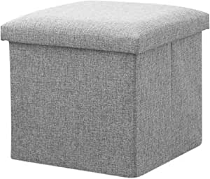 Foldable Fabric Storage Stool/Ottomans - 30cm (Grey)