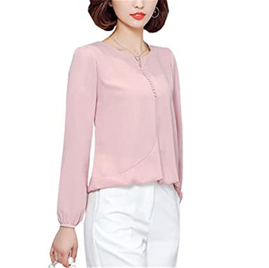 FANGZHENG Long Sleeve Blouse Shirt Women Clothes Autumn Korean Style V Neck S-4Xl Large