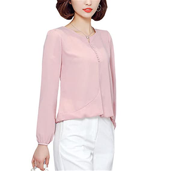 Amazon.com: FANGZHENG Long Sleeve Blouse Shirt Women Clothes Autumn Korean Style V Neck S-4Xl Large Size Female Tops: Clothing