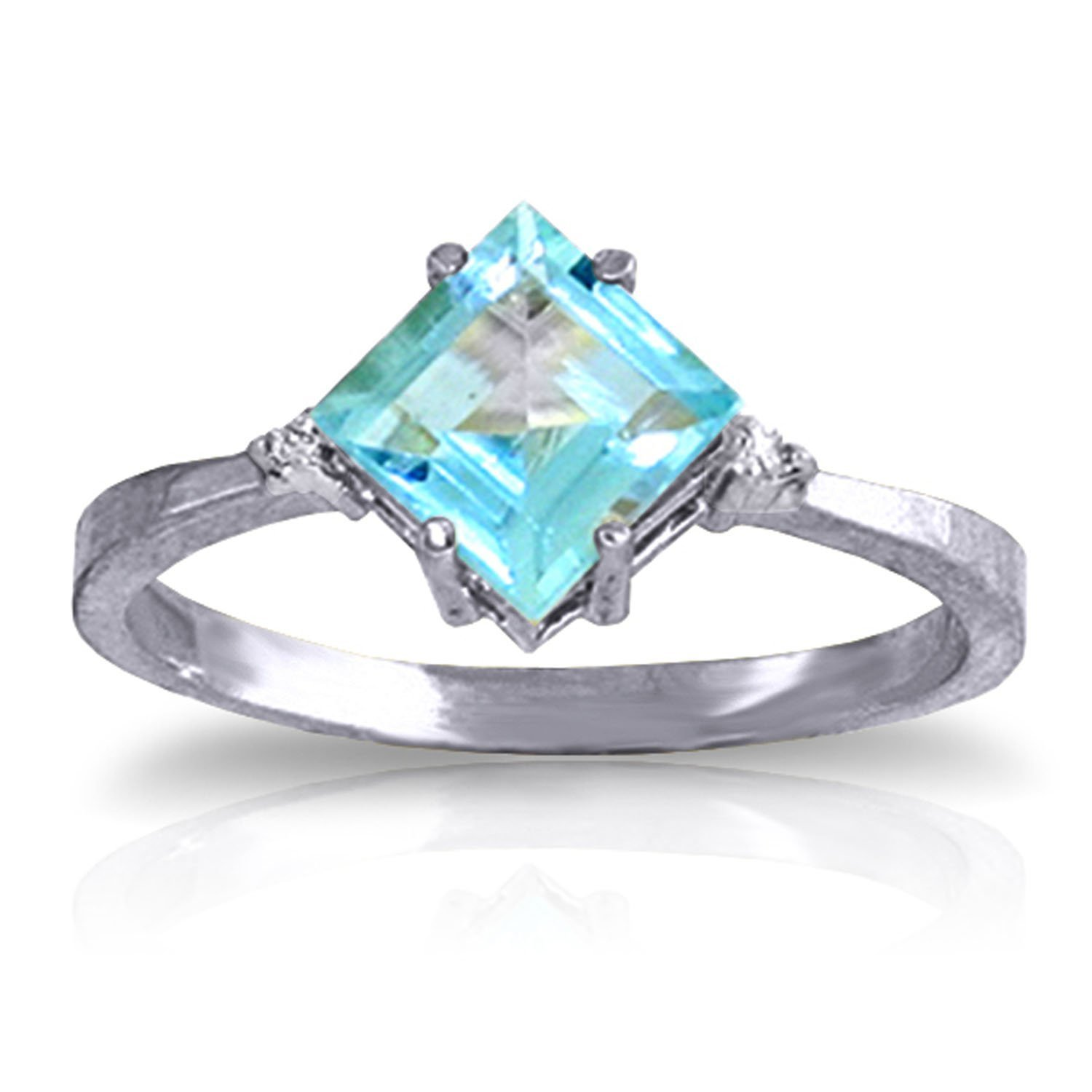 1.77 CTW 14k Solid White Gold Ring with Natural Diamonds and Blue Topaz - Size 10