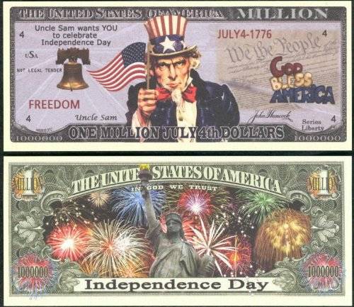 - July 4th, Independence Day Million Dollar Novelty Bill Lot of 2 Bills