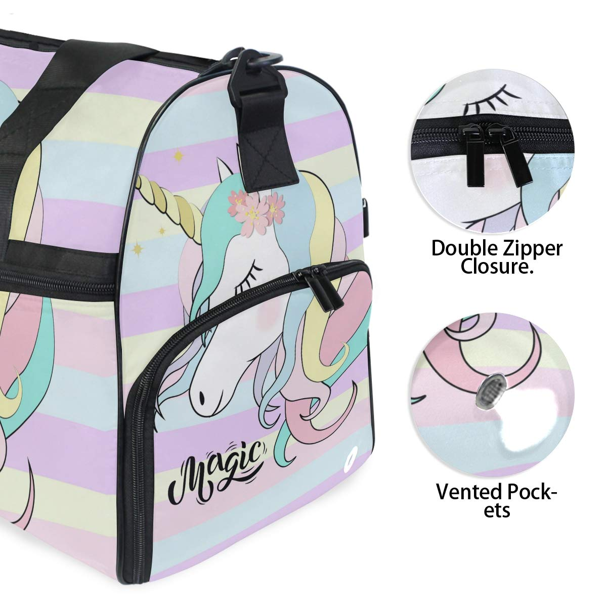 Gym Vacation Travel Duffel Bag Cute Magic Unicorn Rainbow Color Waterproof Lightweight Luggage bag for Sports