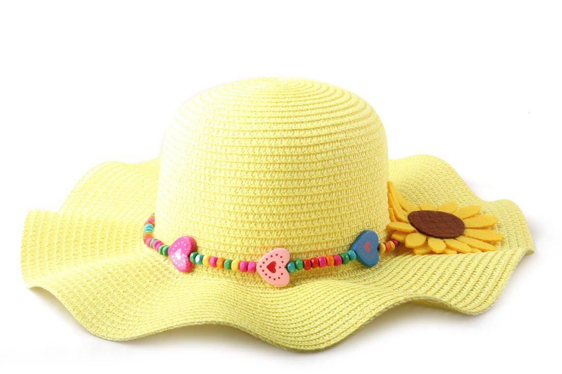 Dantiya Kids Multicolor Sun Hat Large Brim Flower Beach Hats for Girls (Yellow)