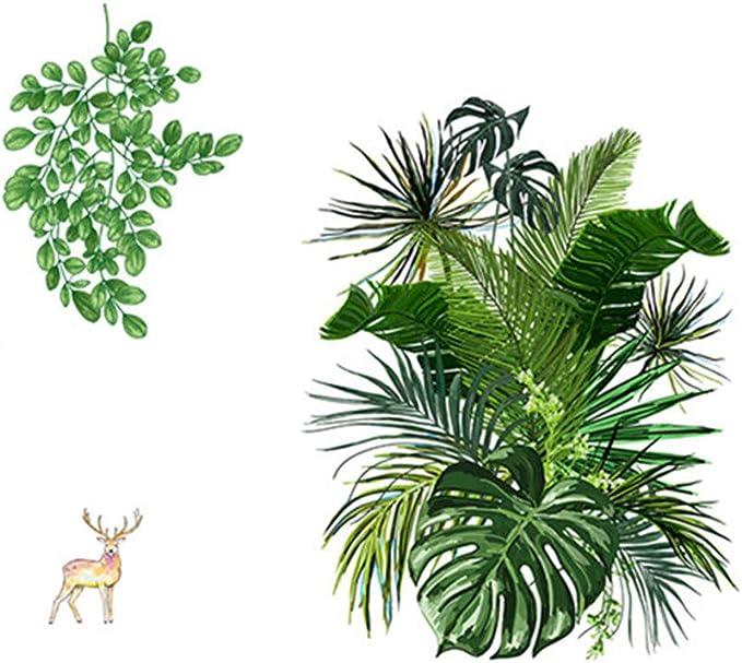 Deajing Stickers Pegatinas Infantiles Pared Etiquetas Adhesivas Vinilo Etiqueta de la Ventana Decal DIY Hojas de Plantas Tropicales Verde de Dibujos Creativo Pegatinas de Pared Decoraci/ón A