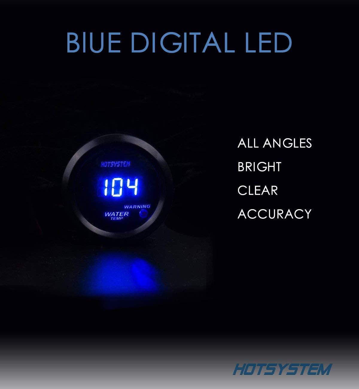"HOTSYSTEM 2/"" 52mm BLUE DIGITAL WATER TEMPERATURE GAUGE Fahrenheit POD FOR CAR"