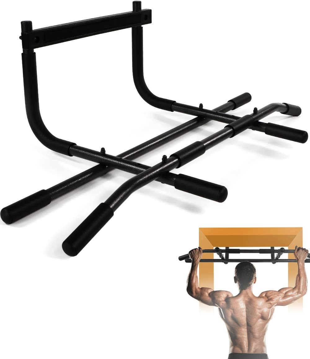Wikkeny - Barra de dominadas, multifuncional, portátil, para la parte superior del cuerpo, para uso en el suelo, entrenamiento, sentadillas, tumbonas, ...