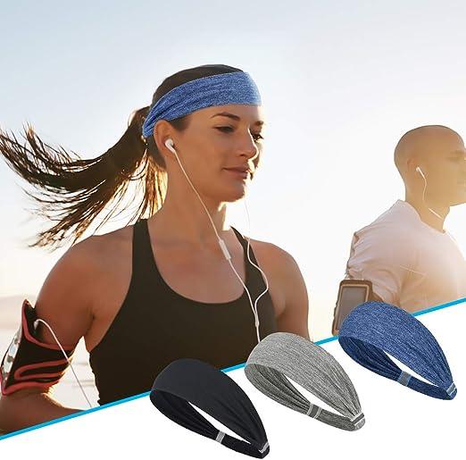 QKURT Reflective Sport Headband 3 PCS Sweatband Non-Slip Breathable Durable High Elastic Head Band for Men and Women Jogging Running Cycling Yoga Outdoor Sport