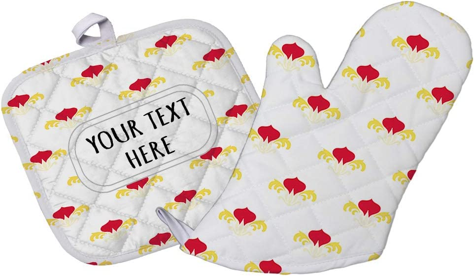 Style In Print Polyester Oven Mitt & Pot Holder Set Custom Floral 14 Pattern Red Yellow Adults Heat Resistant Pads