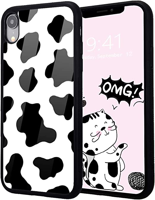 Idocolors Cute Case for iPhone 6/iPhone 6s,Soft Flexible TPU Bumper&Aluminum Hard Back Ultra Slim Shockproof Girly Design Exquisite Cow Pattern ...