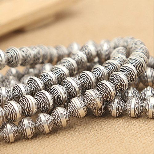 - Luoyi 3pcs Handmade Thai Sterling Silver Bead Spacers, 7*6mm, Hole:1mm (S046G)