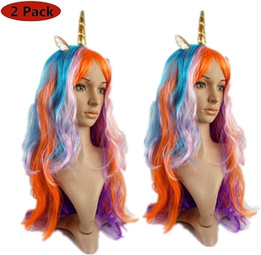 2 pelucas de unicornio con malla transpirable de tres piezas y ...