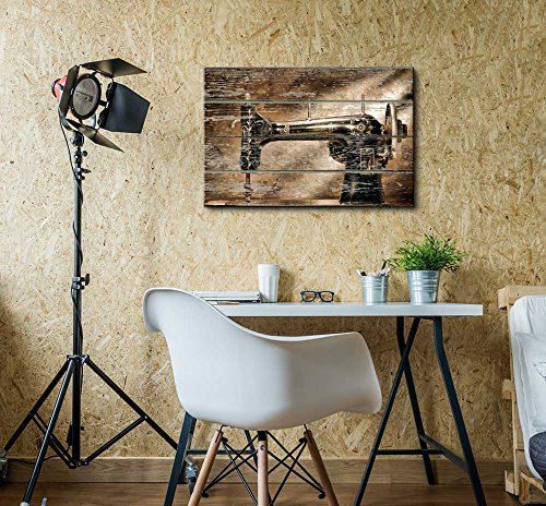 Vintage Sewing Machine on Vintage Wood Textured Background Rustic Country Style