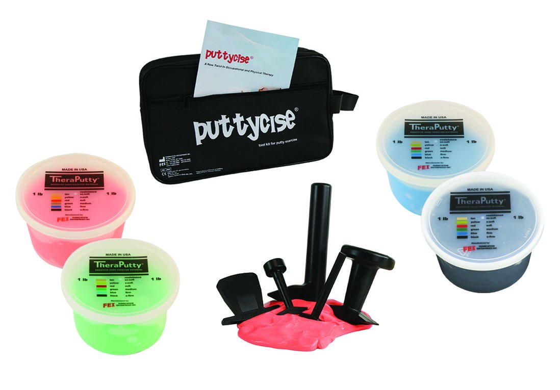 CanDo 10-2836 Puttycise Theraputty with Bag and Putties, 4 x 1 lb, Red-Black, 5-Tool Set by Cando
