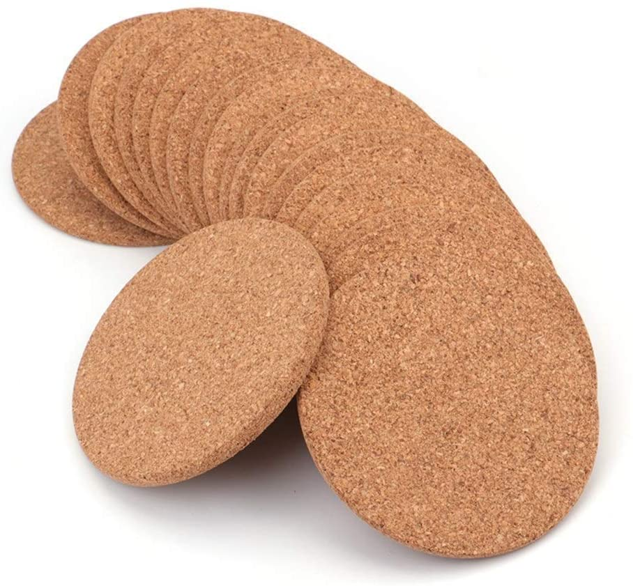 "Tebery 20 Pack Round 3.9"" Absorbent Cork Coasters for Drinks in Office, Home, or Cottage -1/5"" Thick"