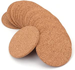 """Tebery 20 Pack Round 3.9"""" Absorbent Cork Coasters for Drinks in Office, Home, or Cottage -1/5"""" Thick"""