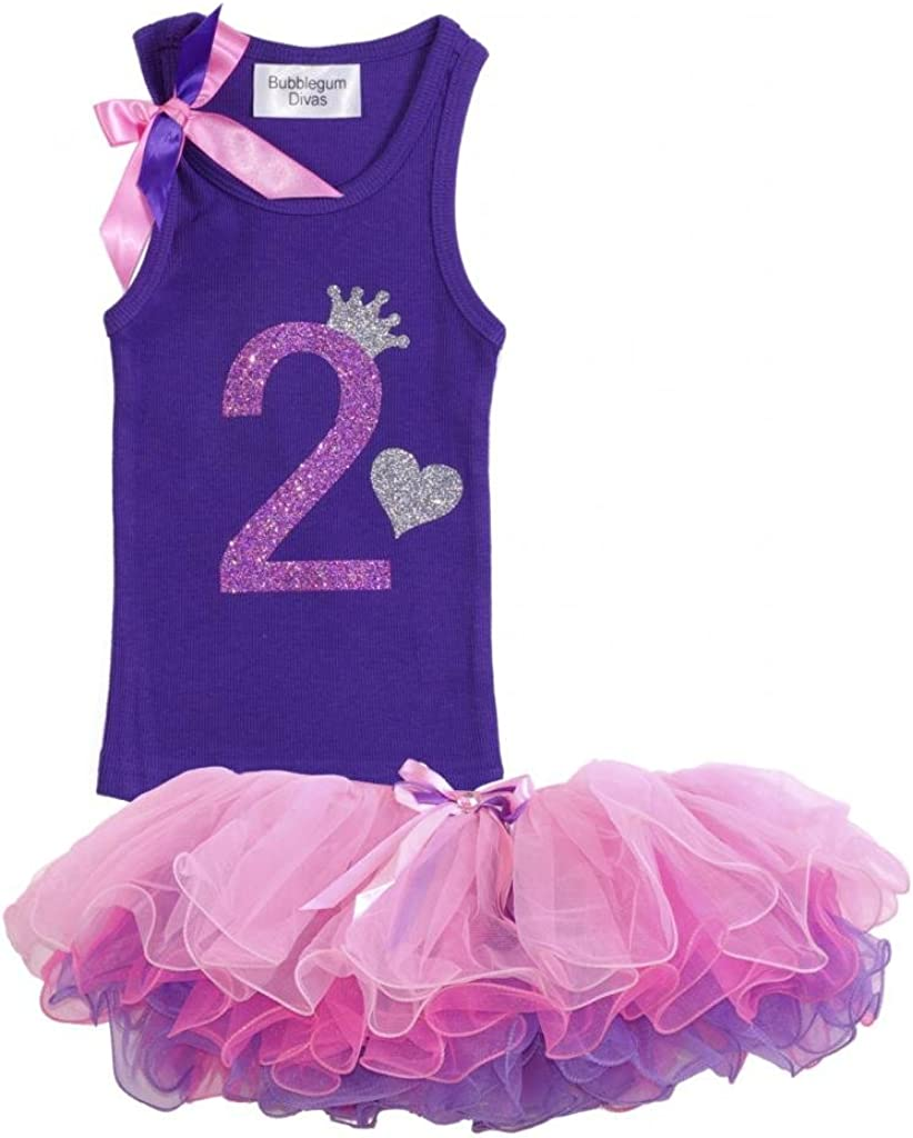 Bubblegum Divas Little Girls 2nd Birthday Purple Princess Zebra Print Shirt